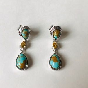 Sterling Silver Turquoise & Citrine Earrings